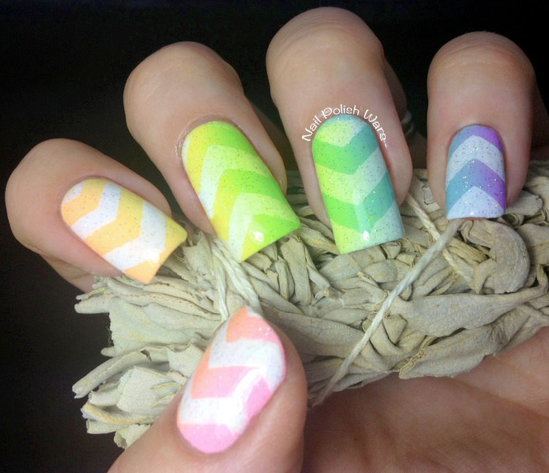 Spongy Chevrons nail art by Nail Polish Wars
