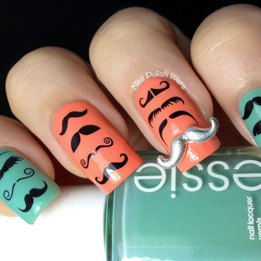 I Mustache You a Question nail art by Nail Polish Wars