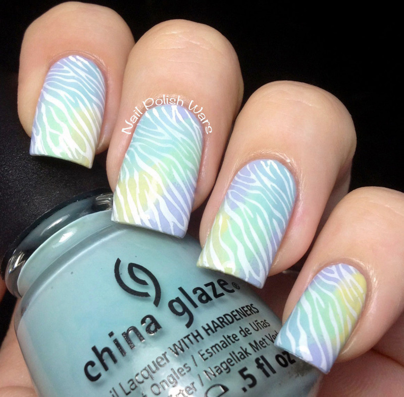 Watercolor Zebra nail art by Nail Polish Wars