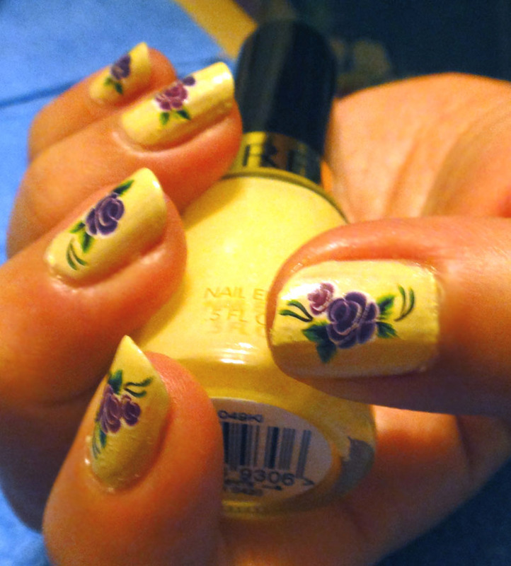 Purple roses under the sun nail art by Cel