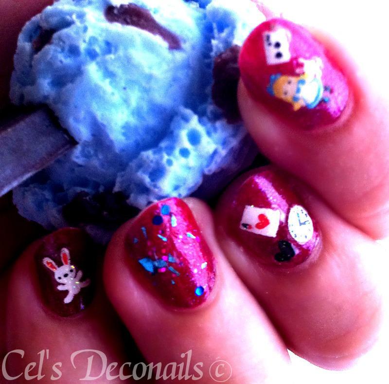 Alice in Wonderland nail art by Cel
