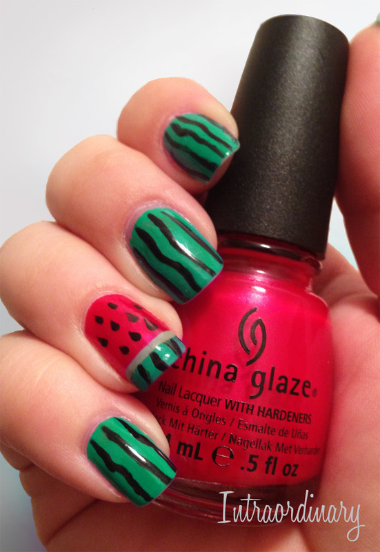 Watermelon Nails nail art by Katie