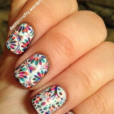 Stamping over dotticure nail art by Nicole