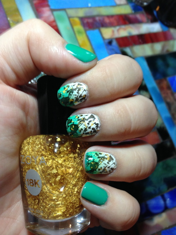 Green Graffiti Splatter nail art by Nicole