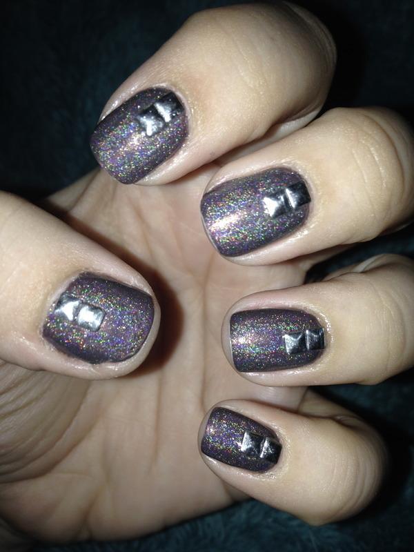 Studded holo nail art by Nicole