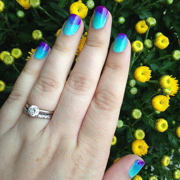 Teal to Purple Gradient nail art by Nicole