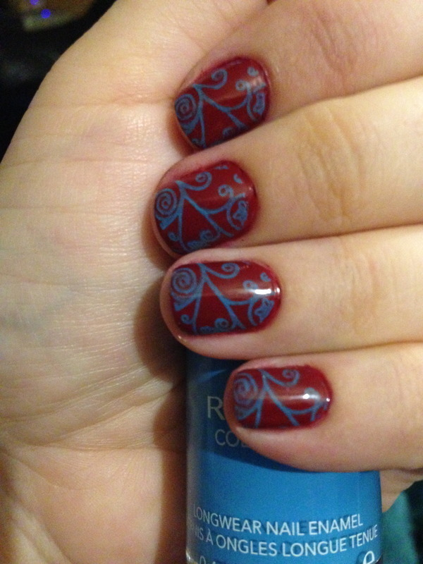 Blue & Red Stamped nail art by Nicole