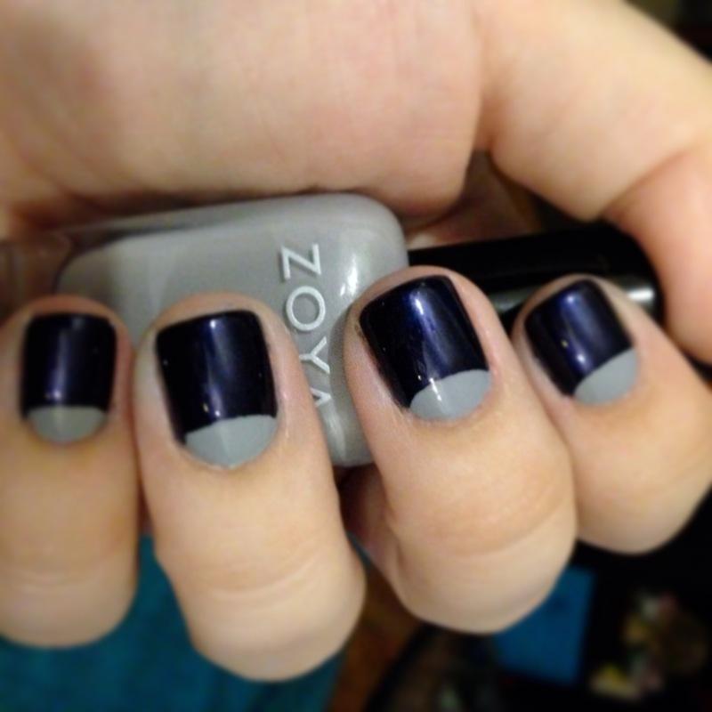 Blue & Grey Half Moon nail art by Nicole