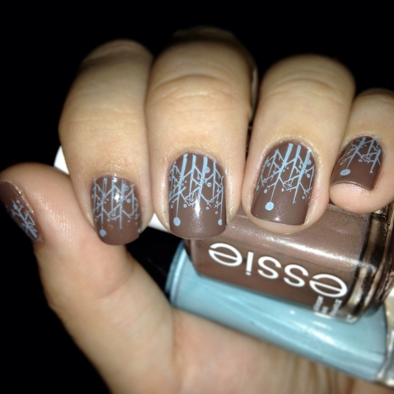 Brown & Blue Stamped nail art by Nicole