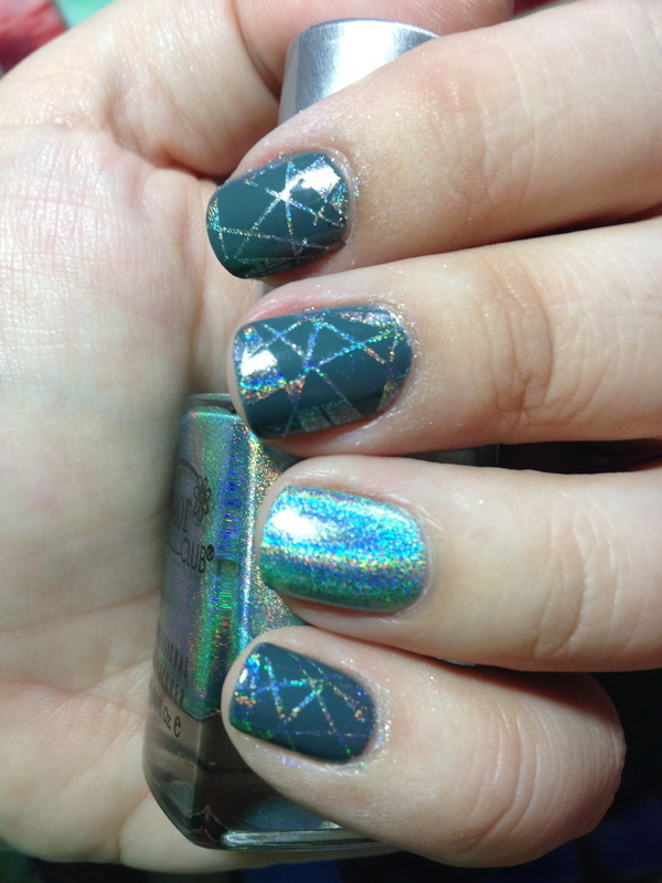 Holographic Stamping nail art by Nicole