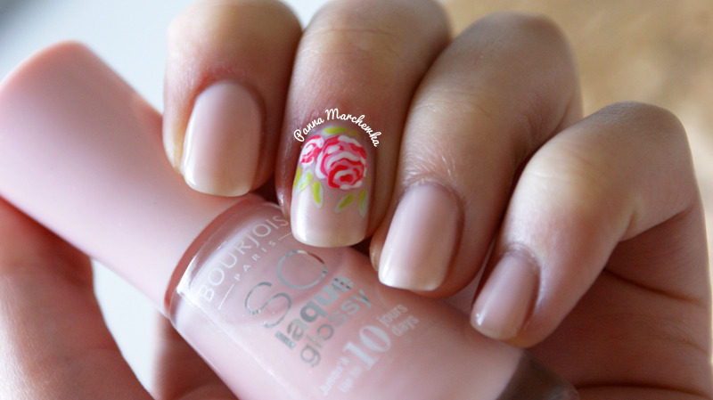 Valentine roses nail art by Panna Marchewka