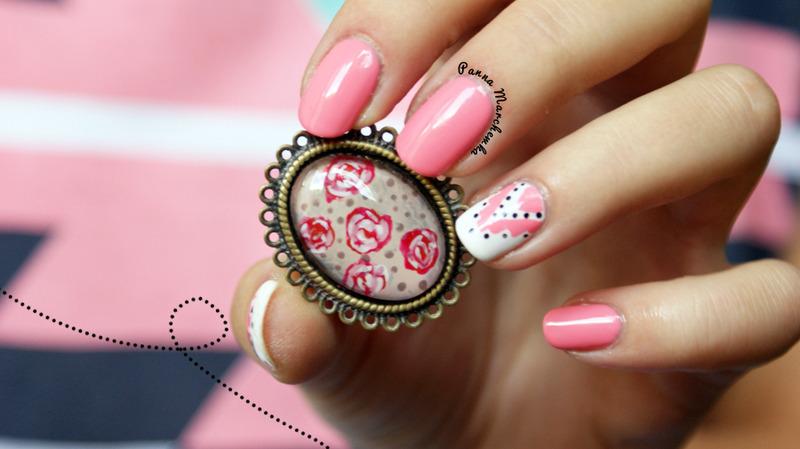 sweet pink nail art by Panna Marchewka