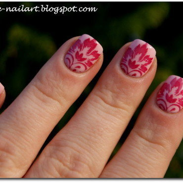 Stamping flowers nail art by RedRouge