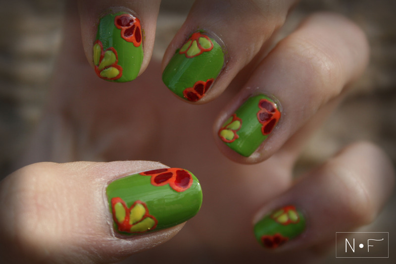 Corner flowers nail art by NerdyFleurty