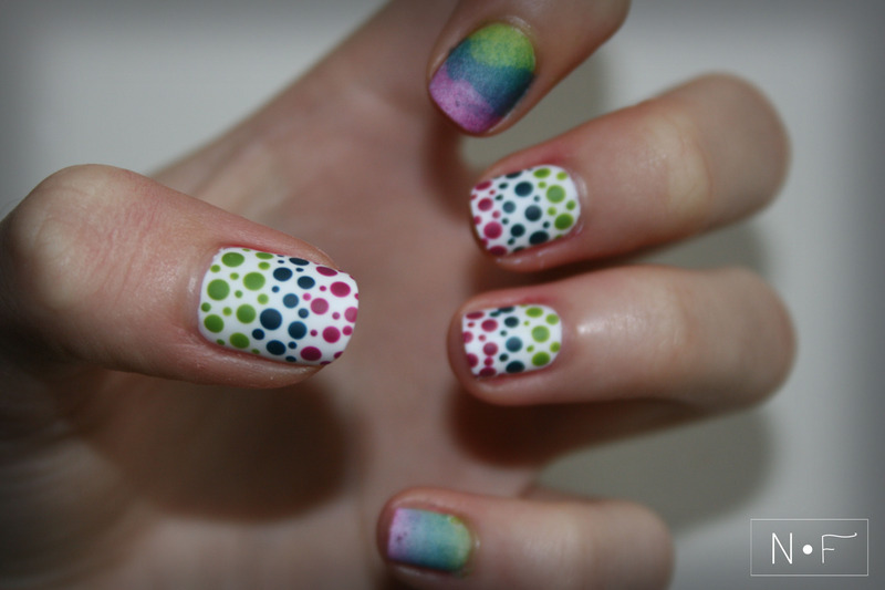 Ombre and dots nail art by NerdyFleurty