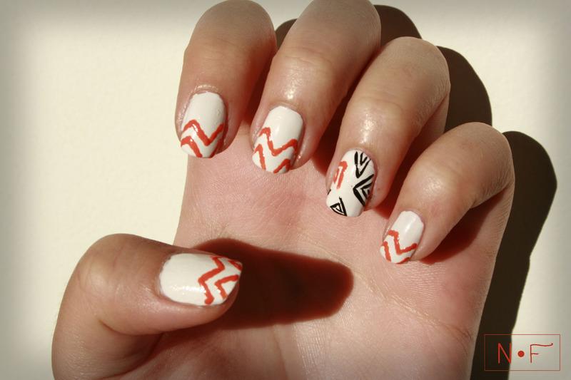 Chevron vs. triangles nail art by NerdyFleurty
