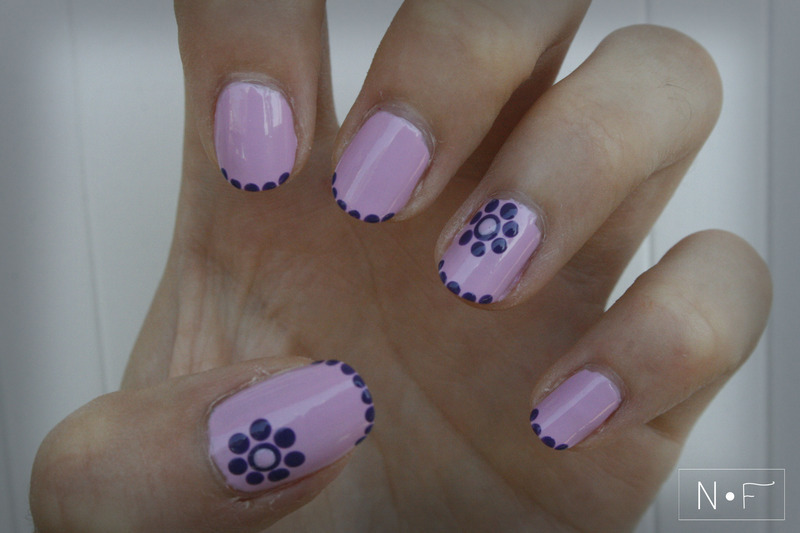 Purple dotted flowers nail art by NerdyFleurty