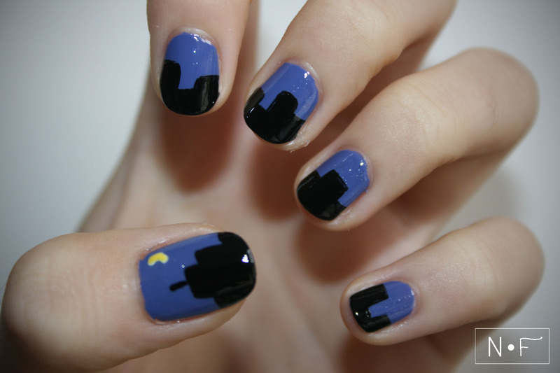 Skyline nail art by NerdyFleurty