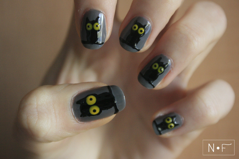 Owls for Halloween nail art by NerdyFleurty