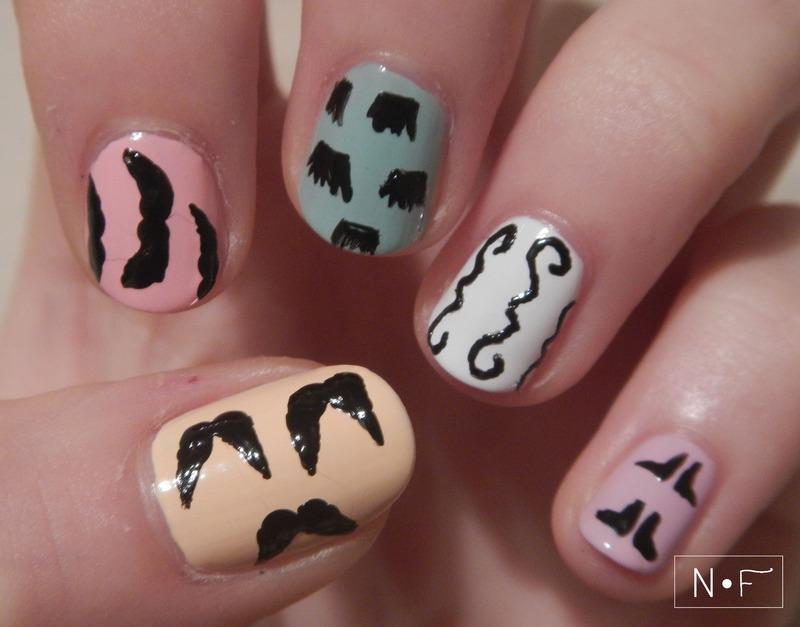 Movember nails nail art by NerdyFleurty