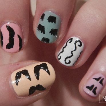 Movember nails nail art by NerdyFleurty