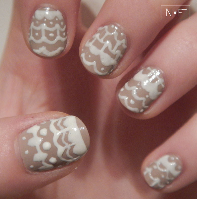 Lace pattern nail art by NerdyFleurty