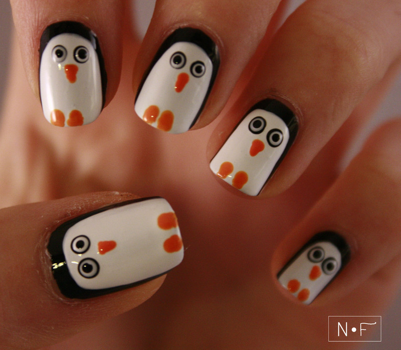 Penguins nail art by NerdyFleurty