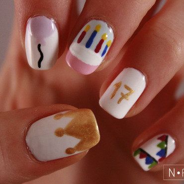 Birthday nails nail art by NerdyFleurty