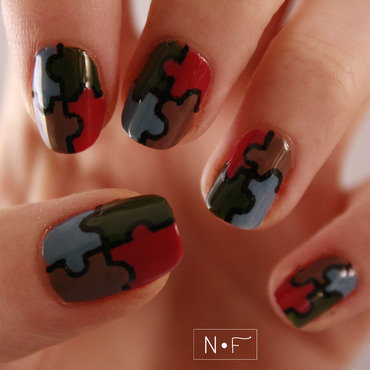 All the pieces for the puzzle nail art by NerdyFleurty