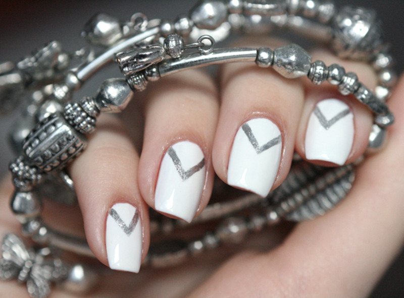 Silver Triangles nail art by Maria