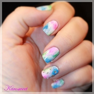 Watercolor nail art by Karosweet