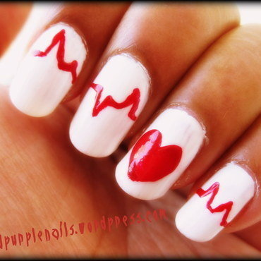 Heart beat nails nail art by Deepika