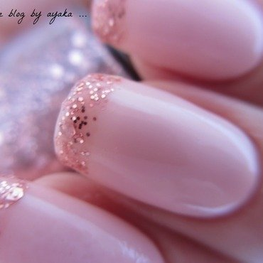 pink glitter french mani 💜 nail art by Ayaka