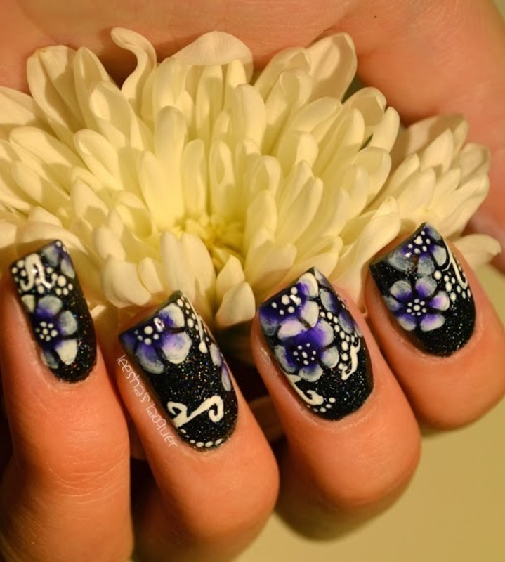 One Stroke Flowers nail art by Leesha
