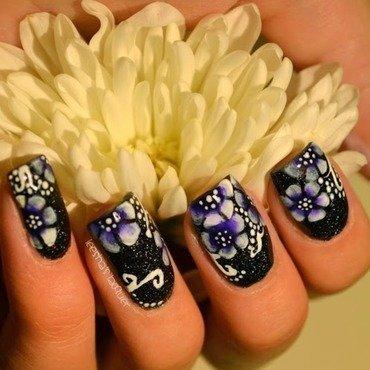 One Stroke Flowers nail art by Leesha