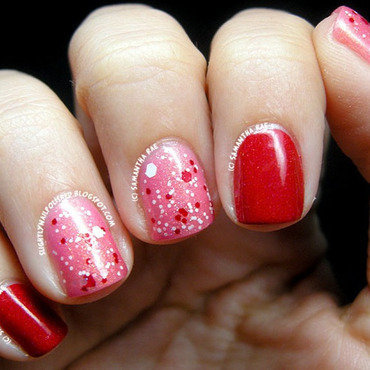 Valentine's Day Glitter nail art by Samantha Rae