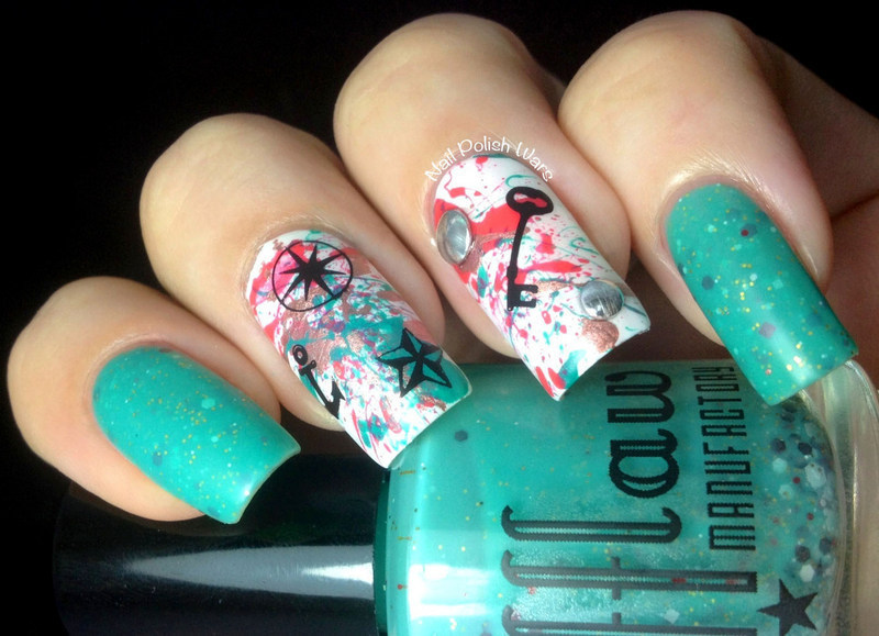 Splattered Tattoos nail art by Nail Polish Wars