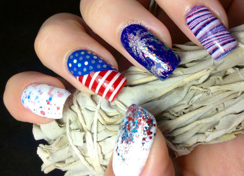 Fourth of July nail art by Nail Polish Wars