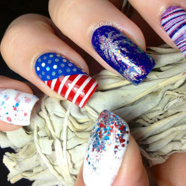 Fourth of July nail art by Nail Polish Wars