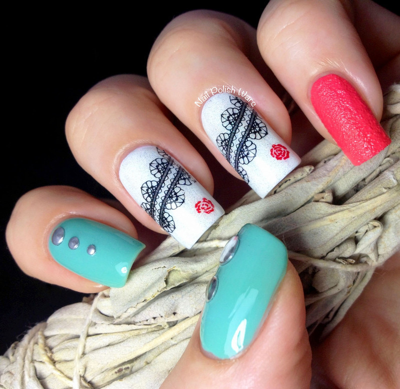Lace & Studs nail art by Nail Polish Wars