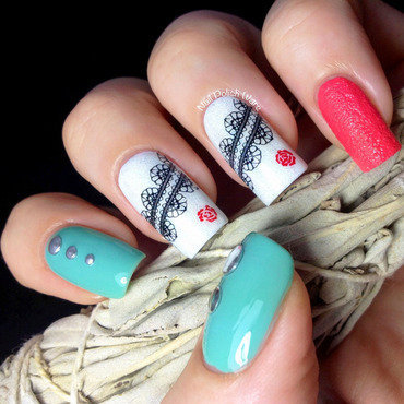Lace & Studs nail art by Nail Polish Wars