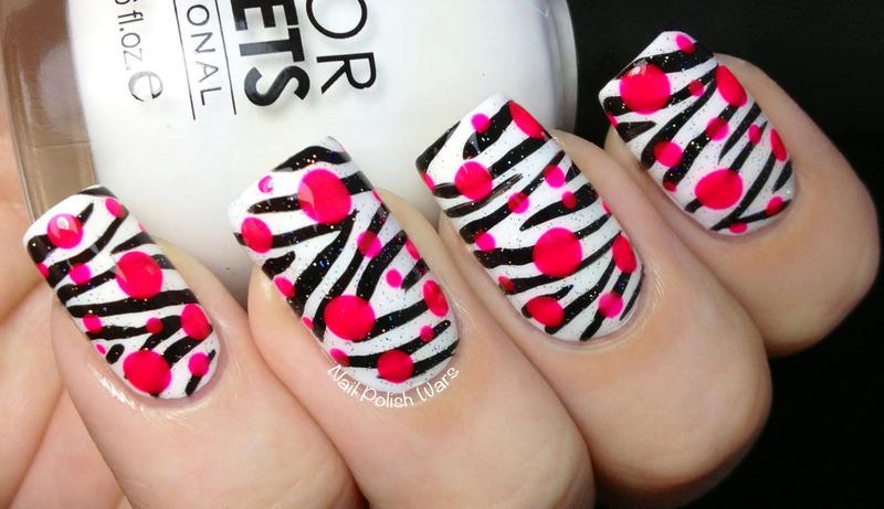 Pop Zebra nail art by Nail Polish Wars