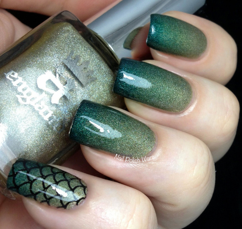 Dragon Scales nail art by Nail Polish Wars - A England Dragon Swatches And Nail Art - Nailpolis: Museum Of Nail Art