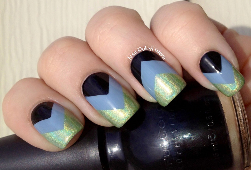 Tri-Colored Chevron nail art by Nail Polish Wars