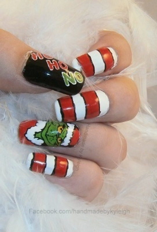 The Grinch nail art by  Kyleigh  'Handmade By Kyleigh'