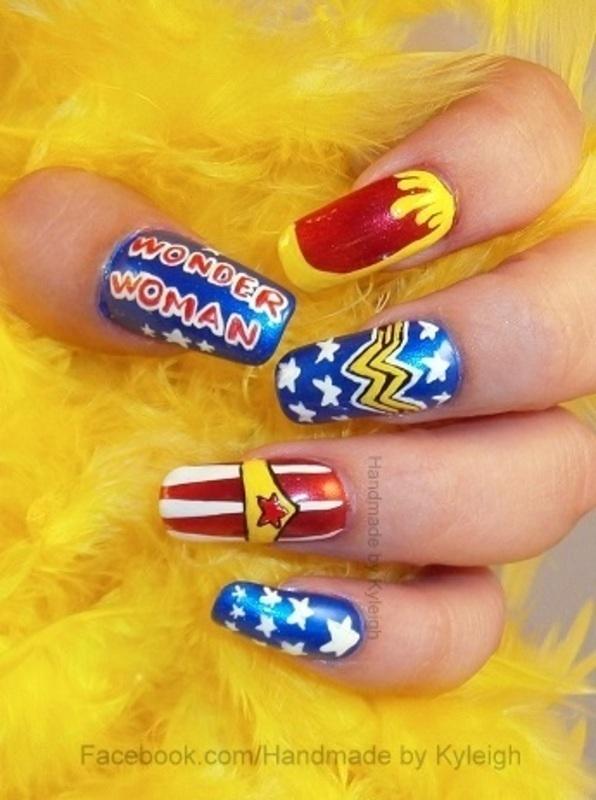Wonder Woman nail art by  Kyleigh  'Handmade By Kyleigh'