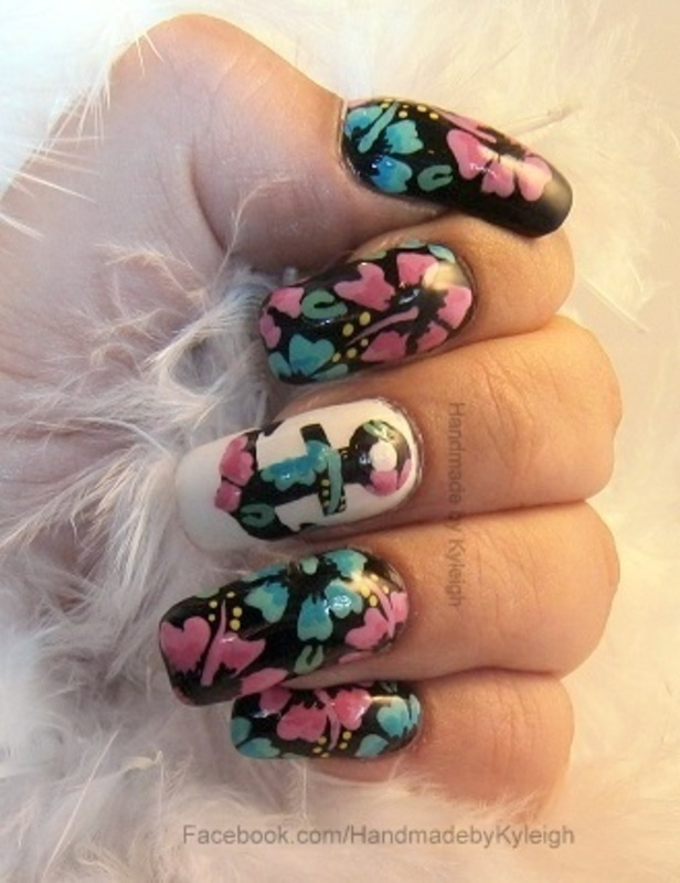 Floral Anchor nail art by  Kyleigh  'Handmade By Kyleigh'