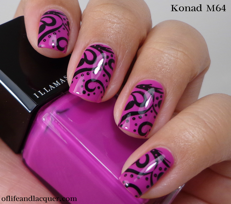Hot Pink Swirls nail art by Cynthia