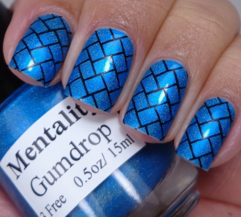 Blue Bricks nail art by Cynthia