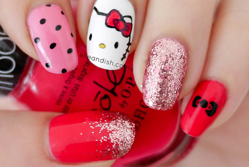Hello Kitty Inspired Nails nail art by elleandish
